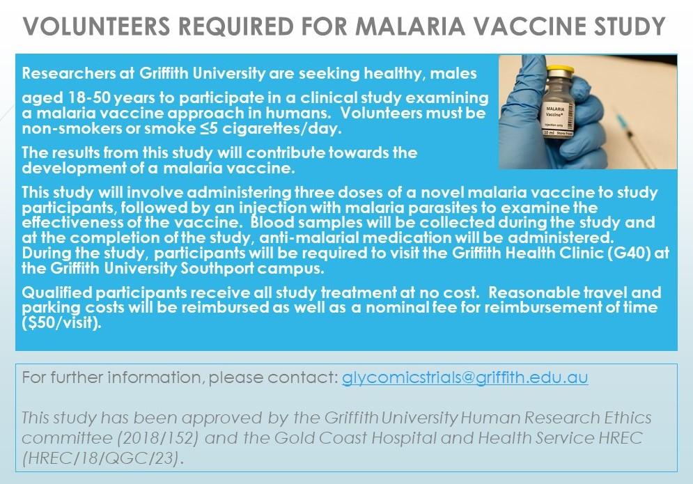 VOLUNTEERS REQUIRED FOR MALARIA VACCINE STUDYblu crop